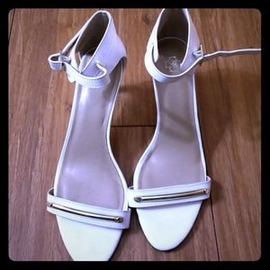 Ann Taylor white and gold strap heels